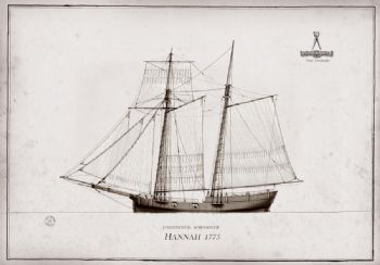 1775 Continental Schooner Hannah pen ink study